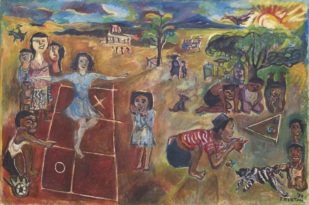Sudjana Kerton (Indonesian, 1922–1994), Anak-Anak Bermain (Children at Play), 1989. Oil on canvas.